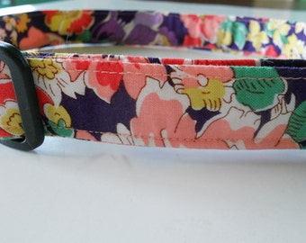 Fabric Dog Collar - Brightly Colored Flowers