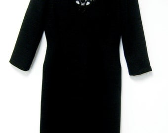 ON SALE/ Little Black Dress with Open Lacework