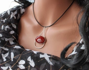Marsala Red Sterling Silver Necklace, Carnelian, Leather Corded choker, Magical Orb