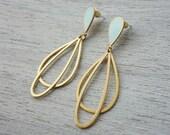 Small Ola Post Earrings, Scandinavian design, oval enamel resin jewelry