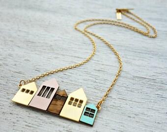 Short Copenhagen Necklace, signature necklace, minimalist house pendant, Scandinavian design
