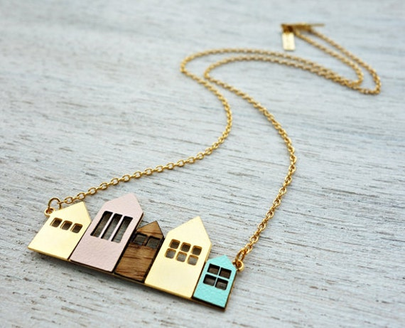 Short Copenhagen Necklace, signature necklace, minimalist house pendant, Scandinavian design