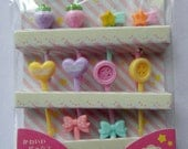 Cute Strawberries, Shooting Stars, Lace Hearts, Sewing Buttons & Ribbon Bows Japanese Bento Picks / Cake Toppers - Set Of 10