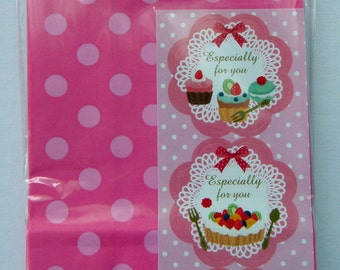 Cute Pink Polka Dots Japanese Paper Gift Bags / Party Bags - Set Of 12 - Come With Fruit Tart & Cupcake Sticker Seals