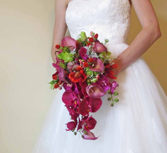Fuschia & Burnt Orange Wedding Bouquet With Orchids By