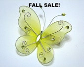 SALE Yellow Spring Butterfly Hair Clip With Rhinestone Accents