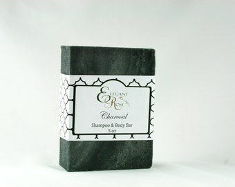 Unscented Charcoal Shampoo & Body Soap Bar  - Natural Conditioning Shampoo Bar - Solid Shampoo Bar