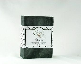 Charcoal Shampoo & Body Soap Bar  - Natural Conditioning Shampoo Bar - Solid Shampoo Bar