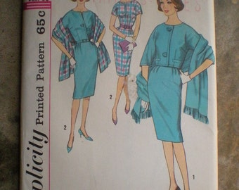 Vintage 1960s Simplicity 4309 Slimline Dress Boxy Jacket and Stole Pattern