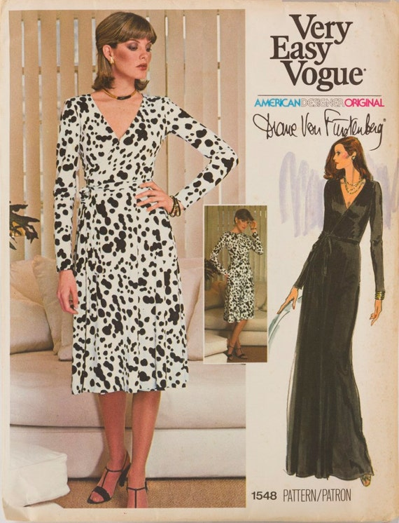 Rene Russo wears a 1970s Diane Von Furstenberg wrap dress pattern - Vogue 1548