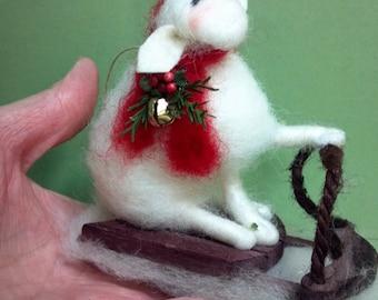 Ewe a Sleddin Felted Wool Ornament
