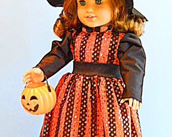 American Girl Doll Clothes - Sparkly Witch Costume in Black and Orange - 18 Inch Doll Clothes