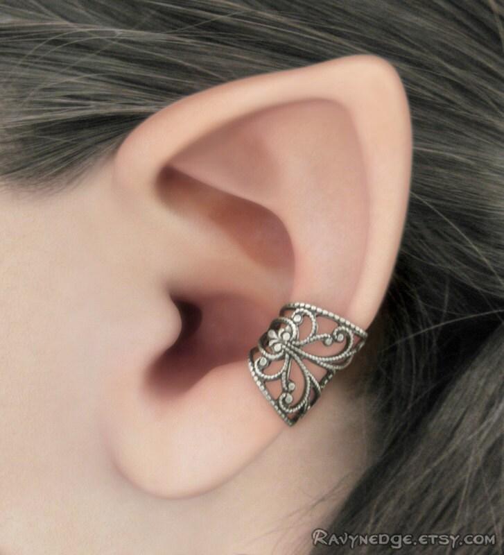 silver filigree ear cuff silver ear cuff steampunk ear cuff. Black Bedroom Furniture Sets. Home Design Ideas