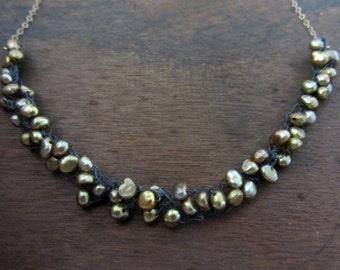 Golden pearls cluster necklace, crochet cluster necklace