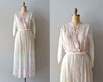 Letitia dress | sheer white cotton edwardian dress • embroidered 1910s dress