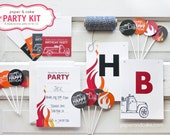 The PARTY KIT - FIRETRUCK Birthday Party Kit for 12: Invitations, Banner, Favor Bag Toppers, Cupcake Picks & Straws >> Shipped to you <<