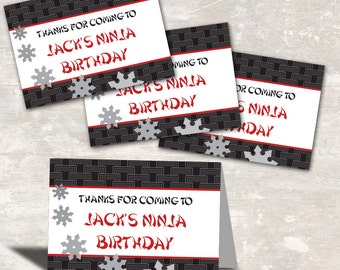 PRINT & SHIP Ninja Karate Birthday Party Favor Bag Toppers (set of 12) ) >> personalized and shipped to you | Paper and Cake