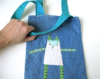 Kid Bag/Tote with Cat Applique, Recycled Fabrics