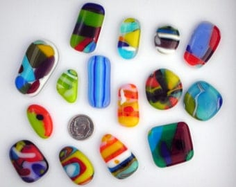 15 Colorful Glass Cabochons