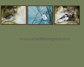 Gift for grandma SALE Bird art SET 5x7 PRINTS bird home decor bird wall decor from Original Watercolor Paintings blue green brown cream dp