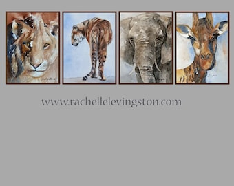 for him boy nursery art nursery wall art watercolor painting animal PRINT SET animal painting artwork safari giraffe elephant lion tiger