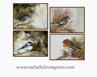 for her watercolor Bird painting of bird Perching Bird art PRINT Set of bird prints set room decor 8x10 art watercolor bird PRINTS