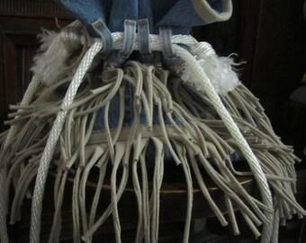 Taupe Fringe Drawstring  Bucket Bag
