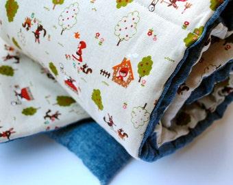 Preschool Nap Mat - Red Riding Hood Eco Friendly Non-Toxic Toddler Napmat with Organic Denim - Nap Pad for Modern Girls