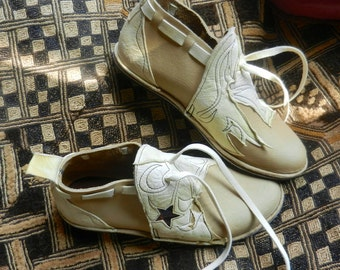 "Leather Handmade Shoes - Tan or sand  - ""NO SHOES"" Vibram Sole, Deer Skin Trim - Custom Made OR  Size 5, 6, 7, 8, 9, 10"