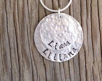 Custom stamped Pendant hand stamped jewelry sterling discs- Moms jewelry gift for her, personalized necklace girlfriend Christmas