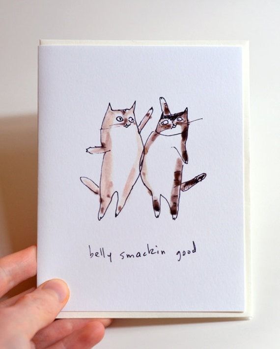Belly Smackin Good Cards - Set of 4 - Funny Cat Cards- The Dancing Cat