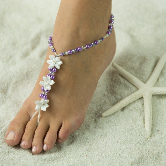 Satin Flower, Beach Sandals, Barefoot Sandals, Foot Jewelry, Bridal Party Gifts, Wedding Sandals. Beach Bride Jewelry. Made in all Colors!