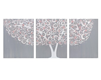 Gray and Pink Nursery Painting Baby Girl - Tree Wall Art on Triptych Canvas - Large 50x20
