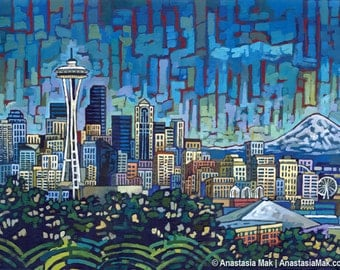Seattle Skyline, Seattle Space Needle, Mt Rainier, 8x10 art print, by Anastasia Mak