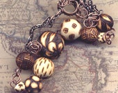 OOAK Hand Burned Pine Wood beads  Necklace, Bird and Flower Necklace - Unique Necklace by AnnaArt72