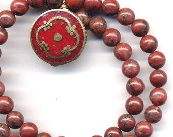 Coral  Mandala, Nepal Necklace,  Red Jasper Necklace, Tibet Mandala, OOAK necklace, Handmade Nepal Jewelry by AnnaArt