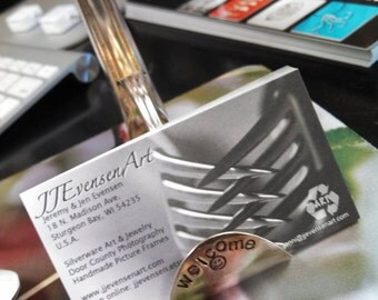 Personalized Business Card and Pen Holder Soldered Silverware Art