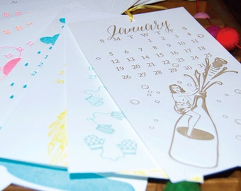 SALE-2014 Limited Edition Wall OR Desk Letterpress Printed Calendars