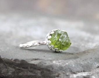 Peridot Sterling Silver Ring - Raw Uncut Rough Peridot - Green Gemstone Ring - August Birthstone Ring - Peridot Stacking Ring