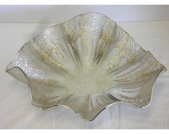 Dorothy Thorpe Silver On Crystal Glass Bowl Vintage Mid Century Modern Asymmetrical Amoeba Clamshell Shape