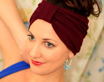Turban Headband - Hair Warp in Burgundy Jersey Knit - Boho Style Wide Headbands - 24 Colors