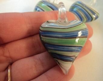 Glass Heart Pendant - Blue & Green