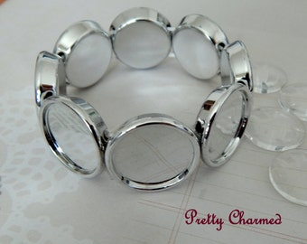 5 Silver Adjustable Stretch Bracelet Kits for Photo Jewelry with or without 20mm Matching Glass Cabochons