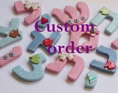 Custom order for Rachel - personalized pink  Hebrew letters