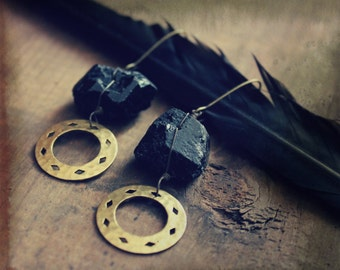 SALE ... Solomon. Raw Freeform Black Tourmaline and Hammered Brass Earrings.