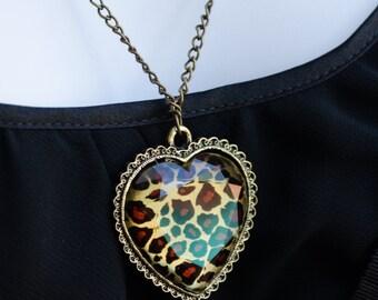 Heart Necklace, Antique Brass long Heart Necklace, Animal Print Necklace, Antique Style, Heart Pendant