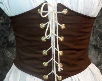 Renaissance Waist Cincher - Pirate Waist Belt - Corset -  Brown  - Steampunk, SCA, LARP, POTC Costume