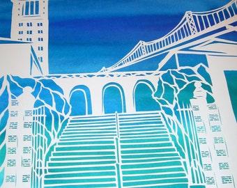 Coast to Coast Papercut Ketubah - wedding artwork - Boston to San Francisco