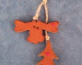 Cinnamon Scented Moose & Tree Decoration, Ornament