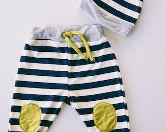 SALE Striped Baby Pants // Knit hat